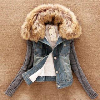 韓国ジャケット❤異素材の組み合わせがオシャレ♪ファーつきジャケット
