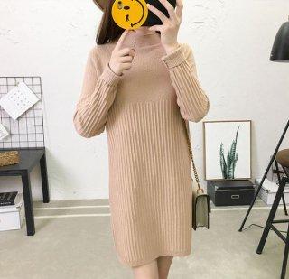韓国ワンピース❤胸元の柄の切り替えしがオシャレ♪ニットワンピース