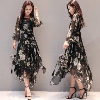 韓国ワンピース❤透け感とアシンメトリーな裾が女性っぽい♪ワンピース