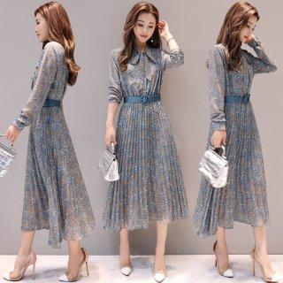 韓国ワンピース❤ペイズリー柄の細やかなプリーツが綺麗♪ワンピース