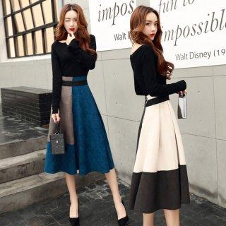 韓国セットアップ❤落ち着いたバイカラースカートで大人な装いに♪セットアップ