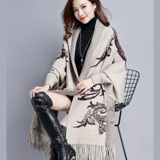 韓国カーディガン❤ショールを羽織ってるみたいに見えちゃう♪大きな柄が特徴的なカーディガン
