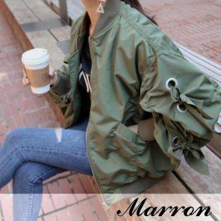 韓国MA-1❤ブルゾン袖のリボンがポイント♪シンプルなブルゾン