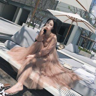 韓国ワンピース❤シフォンの透け感がラブリー♪少しレトロなワンピース