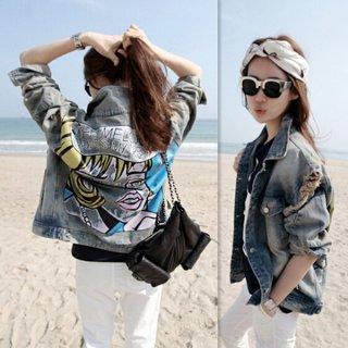 韓国デニムジャケット❤背中のイラストプリントが注目の的♪デニムジャケット