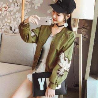 韓国ブルゾン❤シンプルなデザインだけど袖の刺繍がワイルド♪ブルゾン