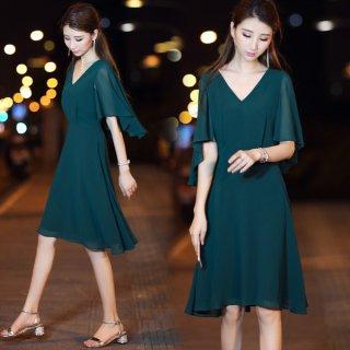 韓国ワンピース❤深いグリーンが秋の装いに♪フレアな袖が二の腕隠しに♪ワンピース
