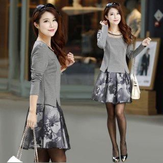 韓国セットアップ❤ネックレスをしたよなトップスと花柄の透け感綺麗なスカートで華やかに♪セットアップ
