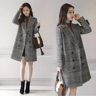 韓国チェスターコート❤チェック柄で落ち着いた印象に♪チェスターコート