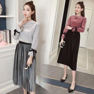韓国セットアップ❤光沢感があって上品な装い♪トップスとプリーツスカートのセットアップ