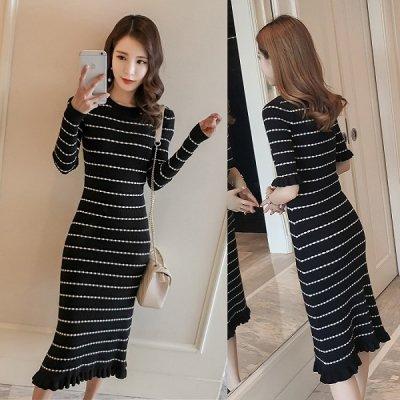 韓国ニットワンピース❤袖と裾のフリルが可愛い♪マーメイドラインのニットワンピース