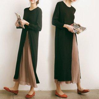 韓国ロングワンピース❤大胆なスリットからプリーツスカートが♪マキシワンピース