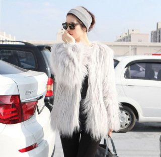 韓国ファージャケット❤毛足が長いからゴージャスに見える♪ノーカラージャケット