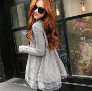 韓国ニットチュニック❤裾の透けたフレアが可愛い♪Aラインニット