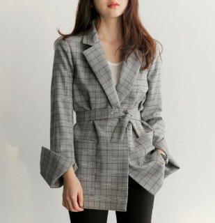 韓国テーラードジャケット❤チェック柄で男前なデザイン♪スーツ風ジャケット