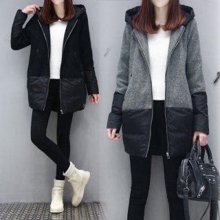 韓国アウターパーカー❤異素材MIXでおしゃれ♪少しロング丈だからお尻もすっぽり隠れる♪パーカージャケット