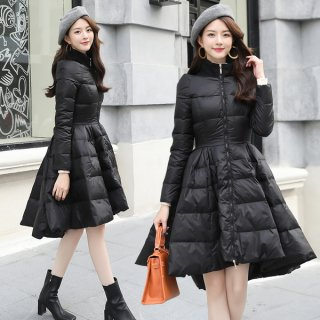 韓国ダウンコート❤フレアワンピース風みたいに可愛い♪フィッシュテールみたいなコート