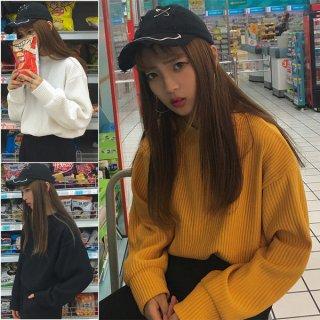 韓国トップス❤袖がふんわりで可愛い♪ハイネックトップス