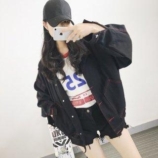 韓国デニムジャケット❤赤い縫い目がアクセントになって良い♪カジュアルジャケット