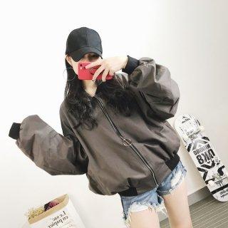 韓国ブルゾン❤シンプルだけどバックロゴが目立つ♪ブルゾンジャケット