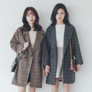 韓国テーラードジャケット❤英国風のルーズレトロ♪ロング丈ジャケット