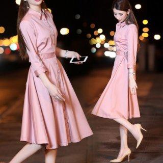 韓国ワンピース❤綺麗な桃色♪フレアなスカートがキュート♪七分袖ワンピース