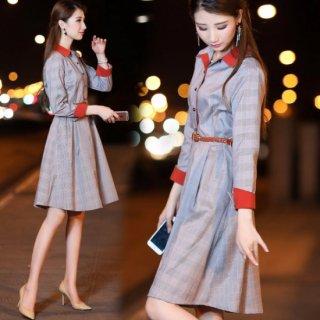 韓国ワンピース❤襟と袖の色違いが良いアクセントに♪フレアなスカートが可愛さをプラスしてくれる♪