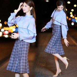 韓国セットアップ❤フリルが可愛いノーカラーブラウスとチェック柄のマーメイドスカートでコーディネートバッチリ♪