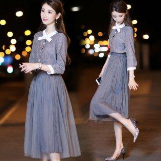 韓国ツーピース セットアップ❤リボンみたいな襟のノーカラーブラウスとプリーツとチュールのキュートなスカートが相性バツグン♪