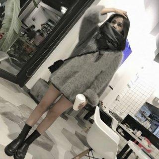 韓国モヘアニット❤丈が長めだから隠したいところを隠して着られる♪スリット入りモヘアニット