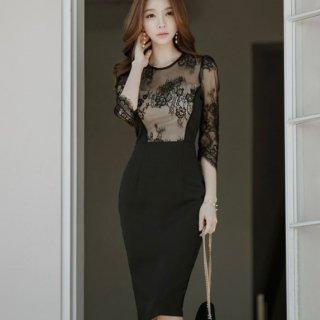 韓国ワンピース❤胸元と袖のレースがエレガントでセクシー♪タイトワンピース