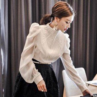 韓国ブラウス❤袖が少し透けててクラシカルなデザイン♪ノーカラーブラウス