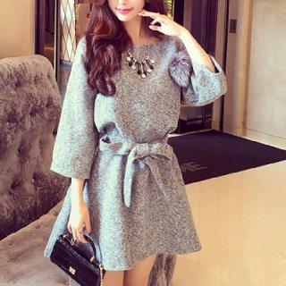韓国ワンピース❤ウエストのリボンが可愛い♪デートに着て女子力アップ♪ミニ丈フレアワンピース