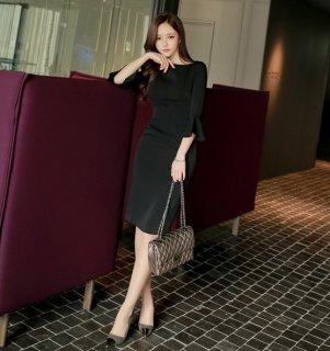 韓国ワンピース❤上品なデザインでおよばれにもピッタリ♪袖フリルのタイトワンピース