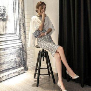 韓国セットアップ❤マントのようなトップスとパイソン柄のタイトスカートセットが大人♪