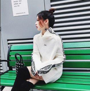 韓国ニットワンピ❤袖のデザインがカジュアルに♪ハイネックで寒い日でも♪ミニ丈ニットワンピース