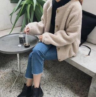 韓国ボアジャケット❤もこもこでラウンドネックが可愛い♪ショート丈ジャケット