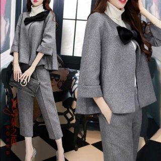 韓国セットアップ❤大きなリボンがポイントのジャケットと七分丈パンツのセット♪オフィスの中で可愛い女性に♪