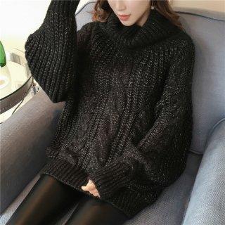 韓国ニット❤バルーン袖とウエストの絞られ感が真ん丸シルエットになって可愛い♪ケーブルニット