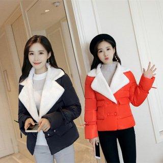 韓国ジャケット❤もこもこのライダースジャケットのよう♪襟のふわふわが可愛いダウンジャケット