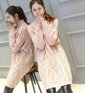 韓国ニット❤お尻もすっぽり隠れるから暖かく体型隠し出来る♪ケーブルニット