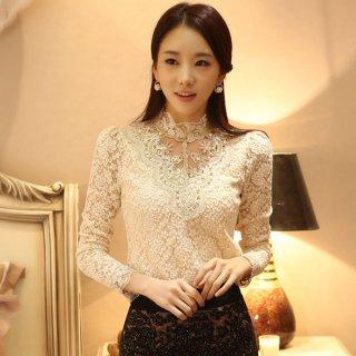 韓国トップス❤レースのデザインが繊細で綺麗♪エレガントな装いに♪