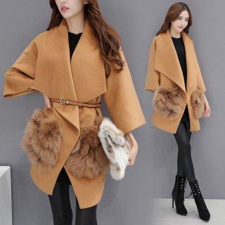 韓国コート❤ファーのポケットがオシャレで可愛い♪九分袖コート