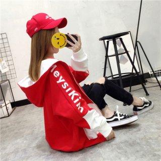 韓国即納有パーカー❤大胆なバイカラー♪袖のプリントもインパクト大のゆったりパーカー