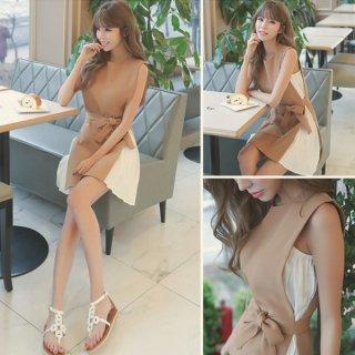 韓国ドレス❤ファー小物と合わせると華やかになってパーティーにでも♪ミニ丈ドレス