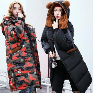 韓国コート❤耳付きで可愛い♪迷彩柄もあるから好きなカラーが選べるダウンコート