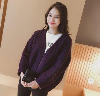 韓国カーディガン❤ちょっと羽織る時に便利丈感♪温かみのある色合いだから着ててほっこり♪ニットカーディガン