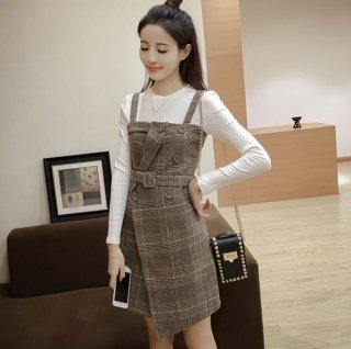韓国セットアップ❤白いシンプルなロンTとスーツ風のチェック柄スカートのセット♪