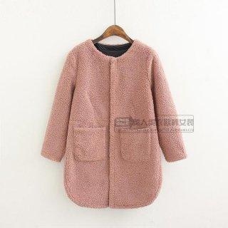 韓国コート❤裾のまあるいシルエットとボアがカワイイ♪ノーカラーコート