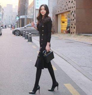 韓国ワンピース❤タイトなスタイルにフィッシュテールって綺麗なシルエット♪ニットワンピース